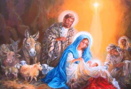 Maary, Joseph and baby Jesus, nativity scene, Christ the Saviour is born