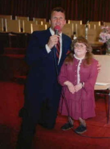 Pastor Max Solbrekken with Geraldine Rideout, Geraldine Rideout was healed by God of Osteo Genesis Imperfecta. Its been 36 years and Geraldine is still healed and well and is happily married. read Geraldine Rideout's miracle testimony